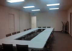 Elbert County Fairgrounds Conference Room with tables and chairs set up